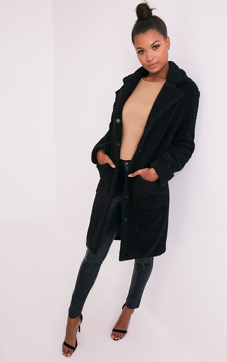 Taibah Black Teddy Fur Longline Coat 1