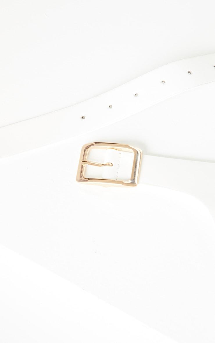 White PU Rose Buckle Waist Belt 2