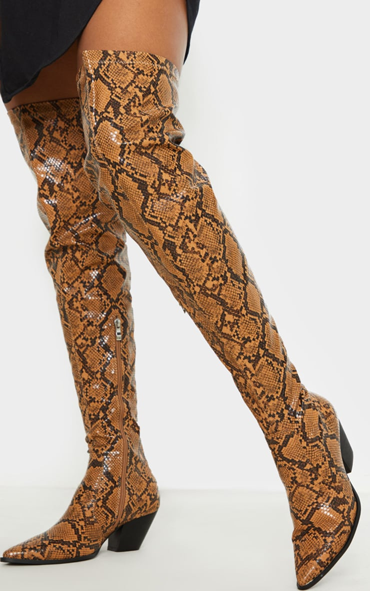 Snake Thigh High Point Toe Western Boots 1