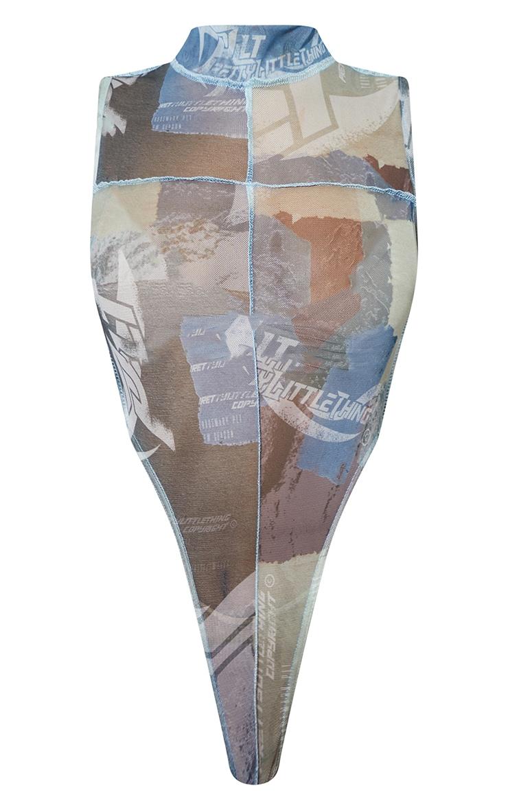 Multi Contrast Stitch High Leg Bodysuit 5