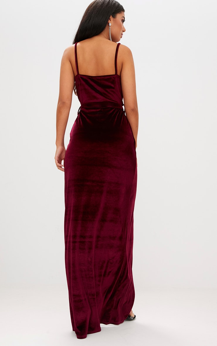 Burgundy Velvet Plunge Wrap Maxi Dress Prettylittlething