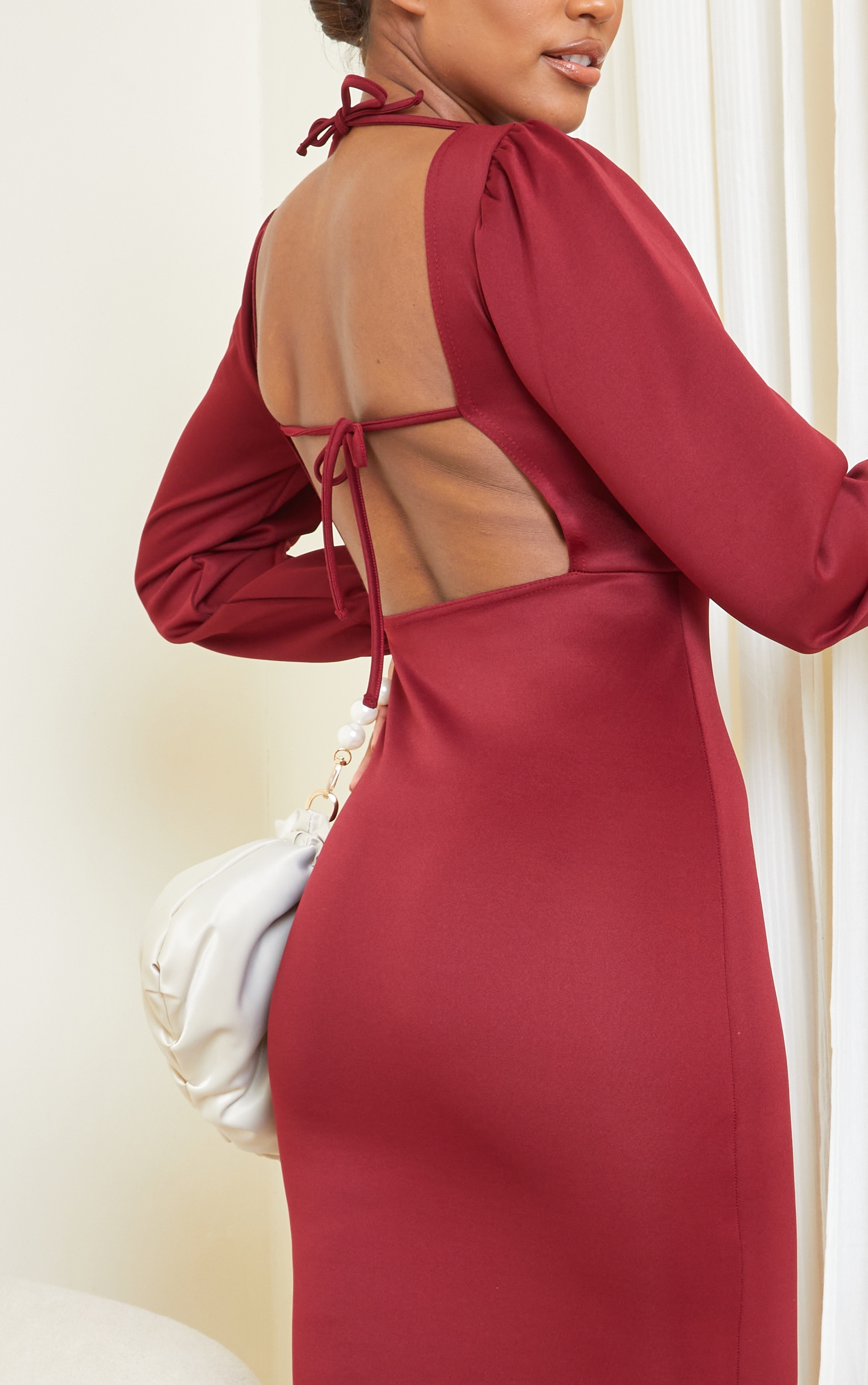 Burgundy Balloon Sleeve Tie Back Midi Dress 4