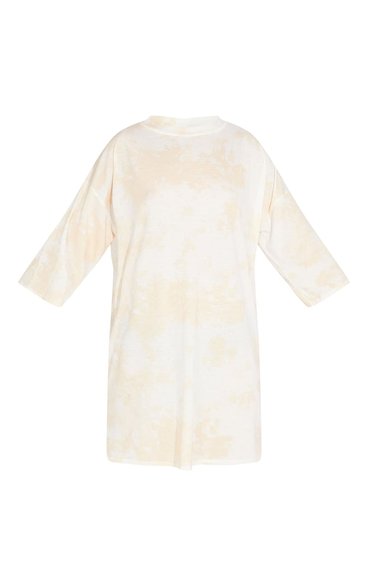 Petite Sand Tie Dye Oversized Boyfriend T Shirt Dress 5