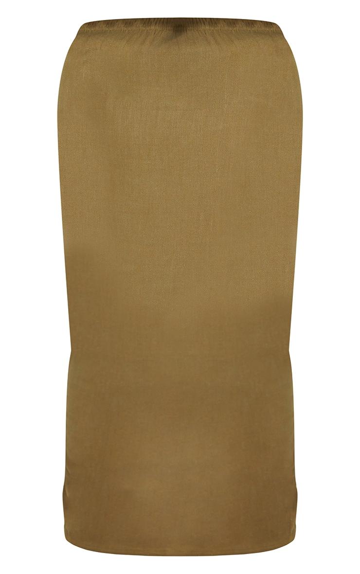 Plus Khaki Woven Midi Detail Skirt 5