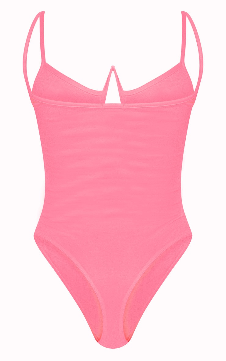 Neon Pink V Bar Cut Out Bodysuit 4