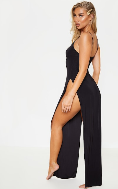 Black Slinky Maxi Beach Dress
