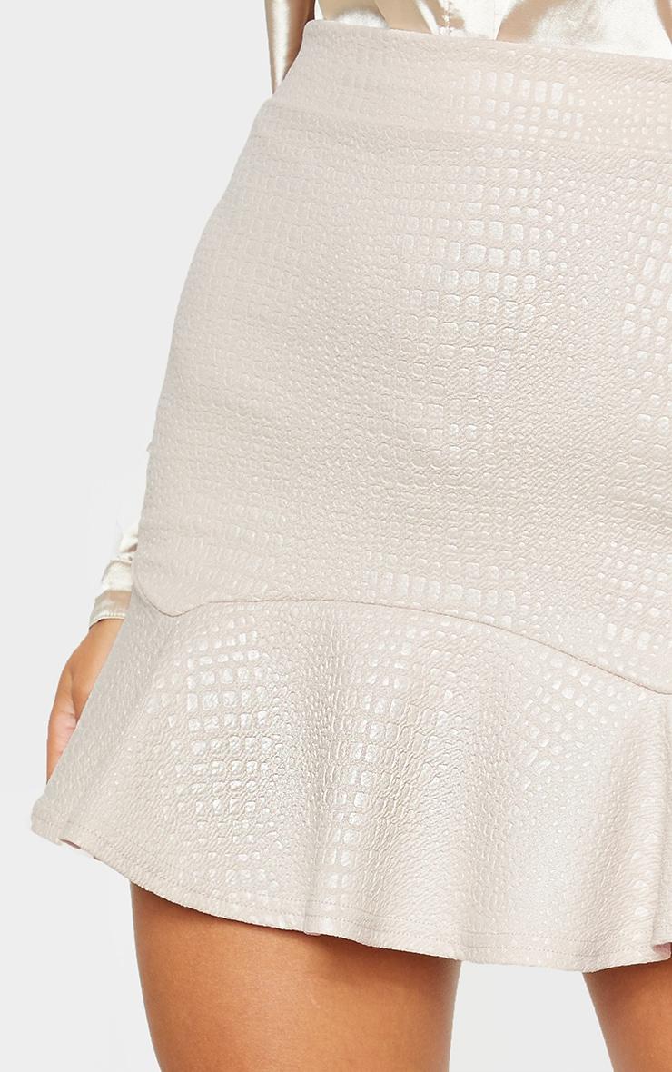 Stone Croc Print Frill Hem Skater Skirt  6