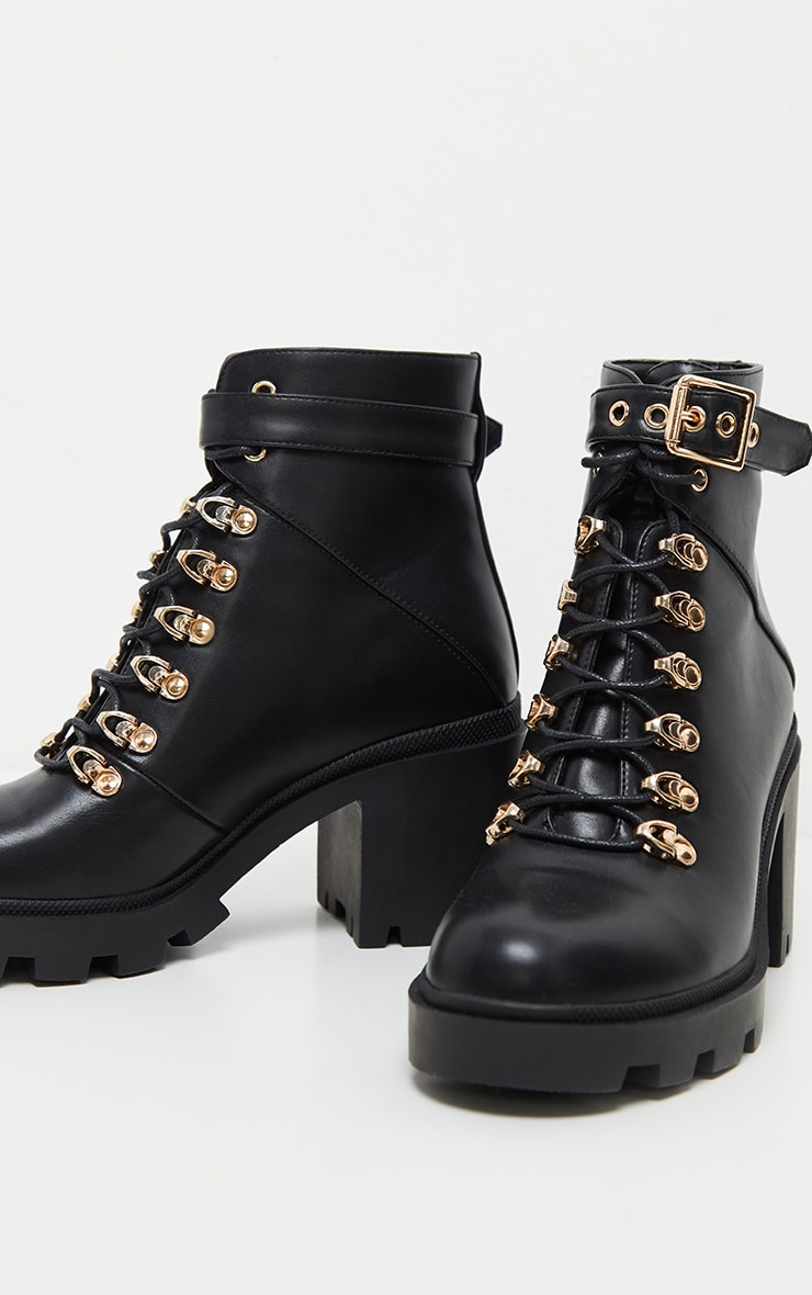 Black Lace Up Heeled Hiker Boot 3