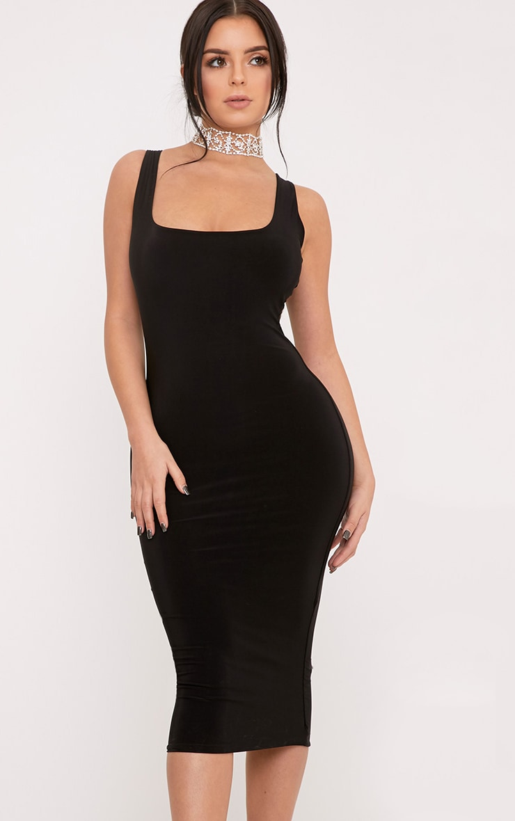 Shape Abrielle Black Slinky Midi Dress  4