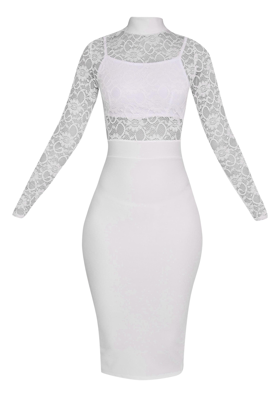 Kizzy White Lace Top Midi Dress 3