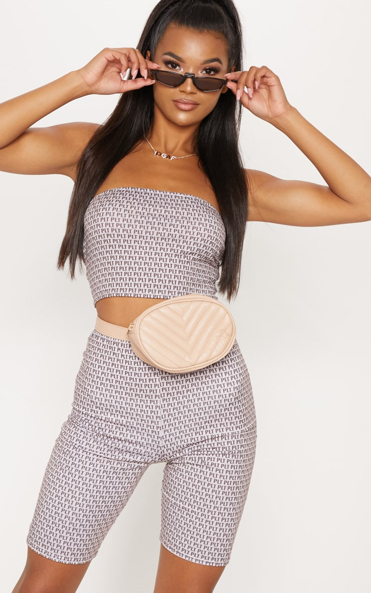 PRETTYLITTLETHING Taupe Printed Jersey Bandeau Crop Top 1