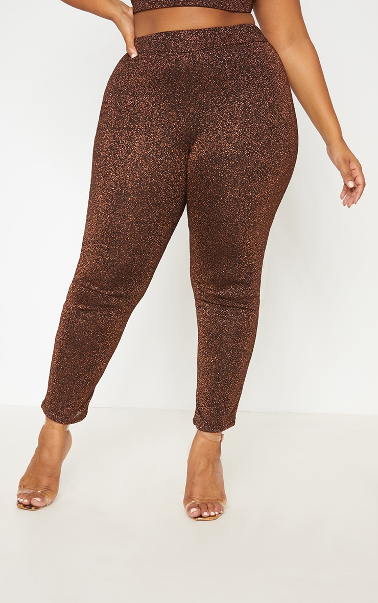 Bronze Metallic Straight Leg Pants 3