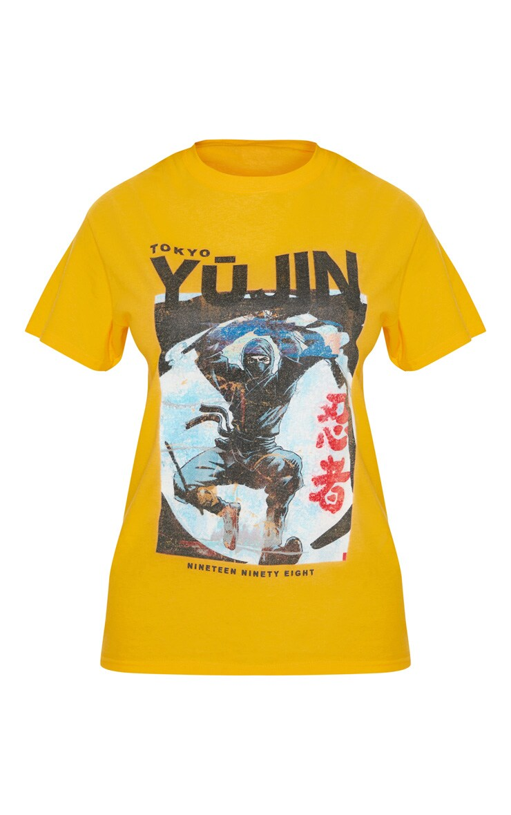 Yellow Tokyo Samurai Printed T shirt 4