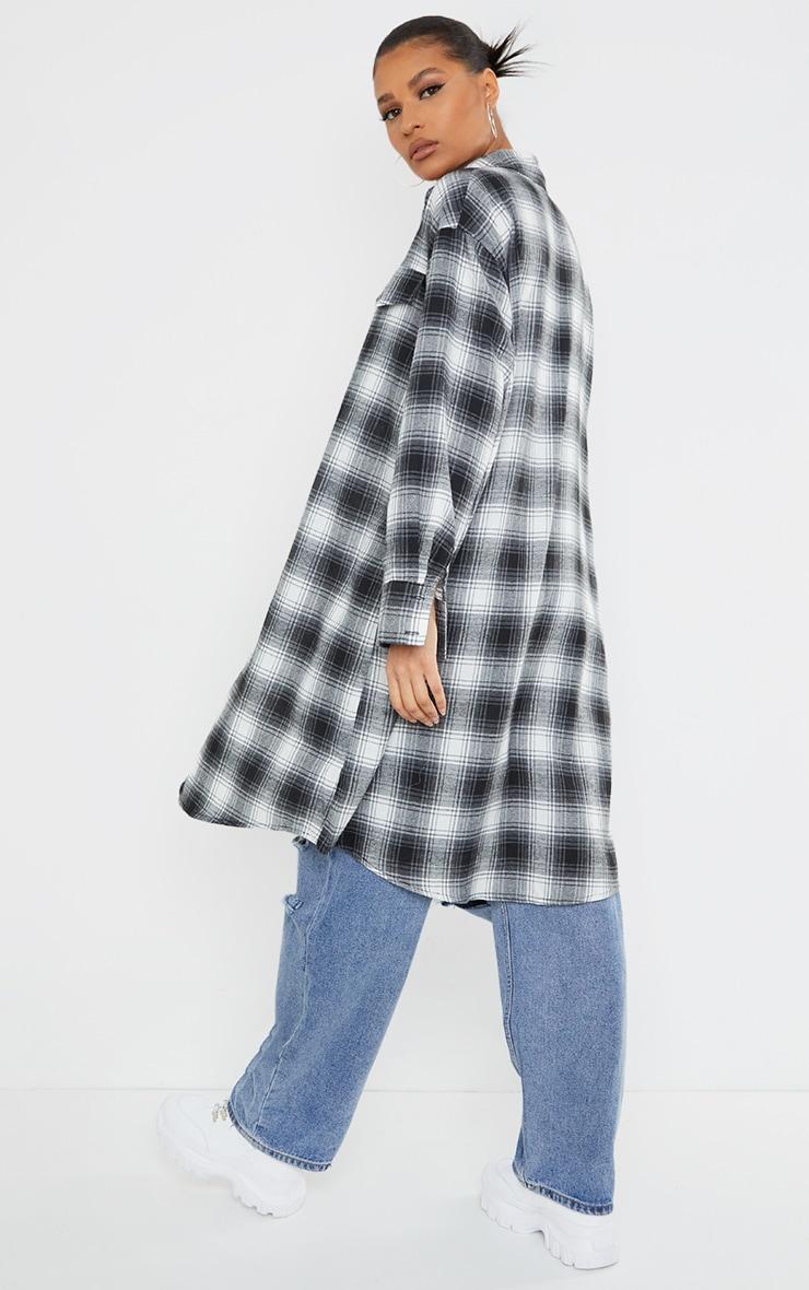 Black Oversized Maxi Check Shirt 2