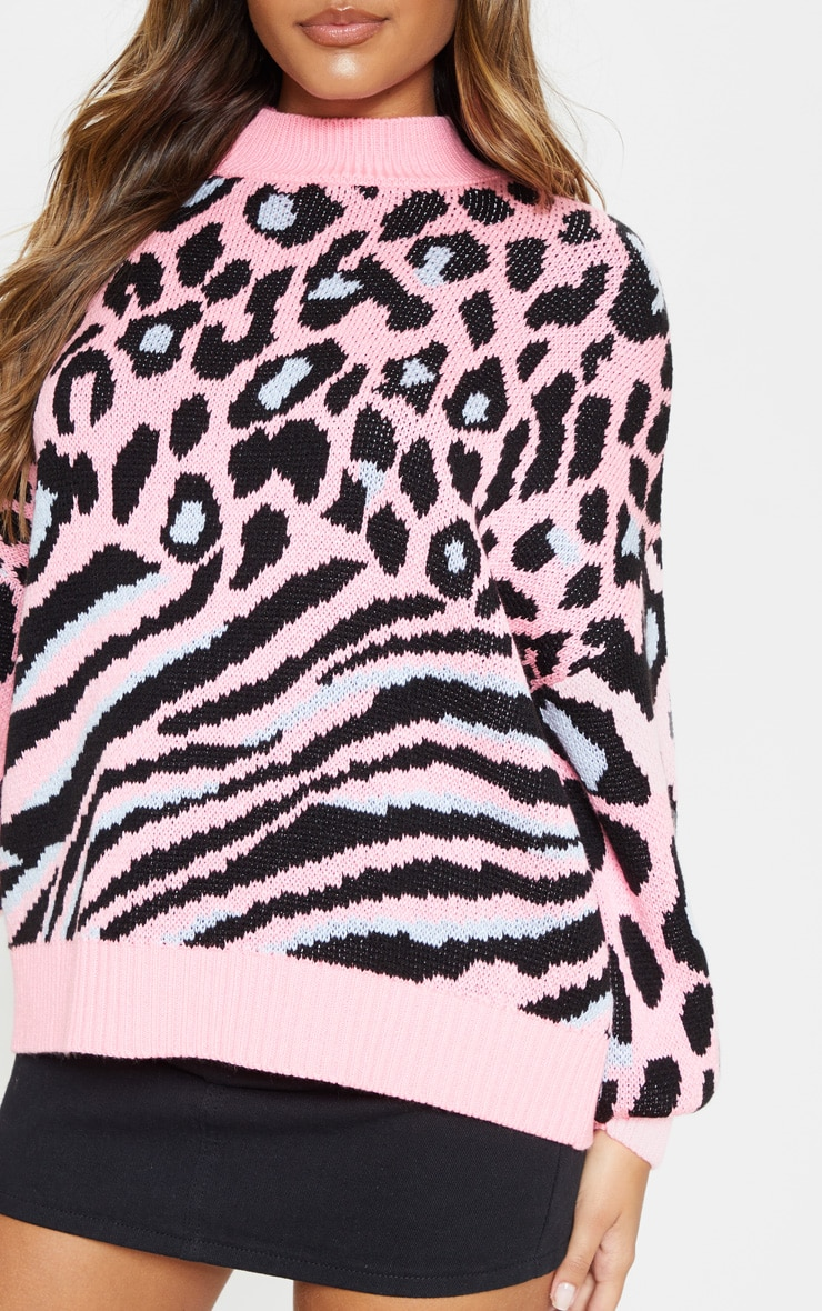Pink Mixed Animal Print Knitted Jumper  5