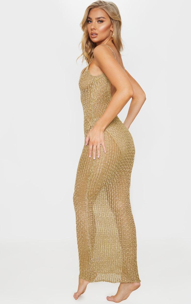 Gold Metallic Knitted Maxi Dress 2