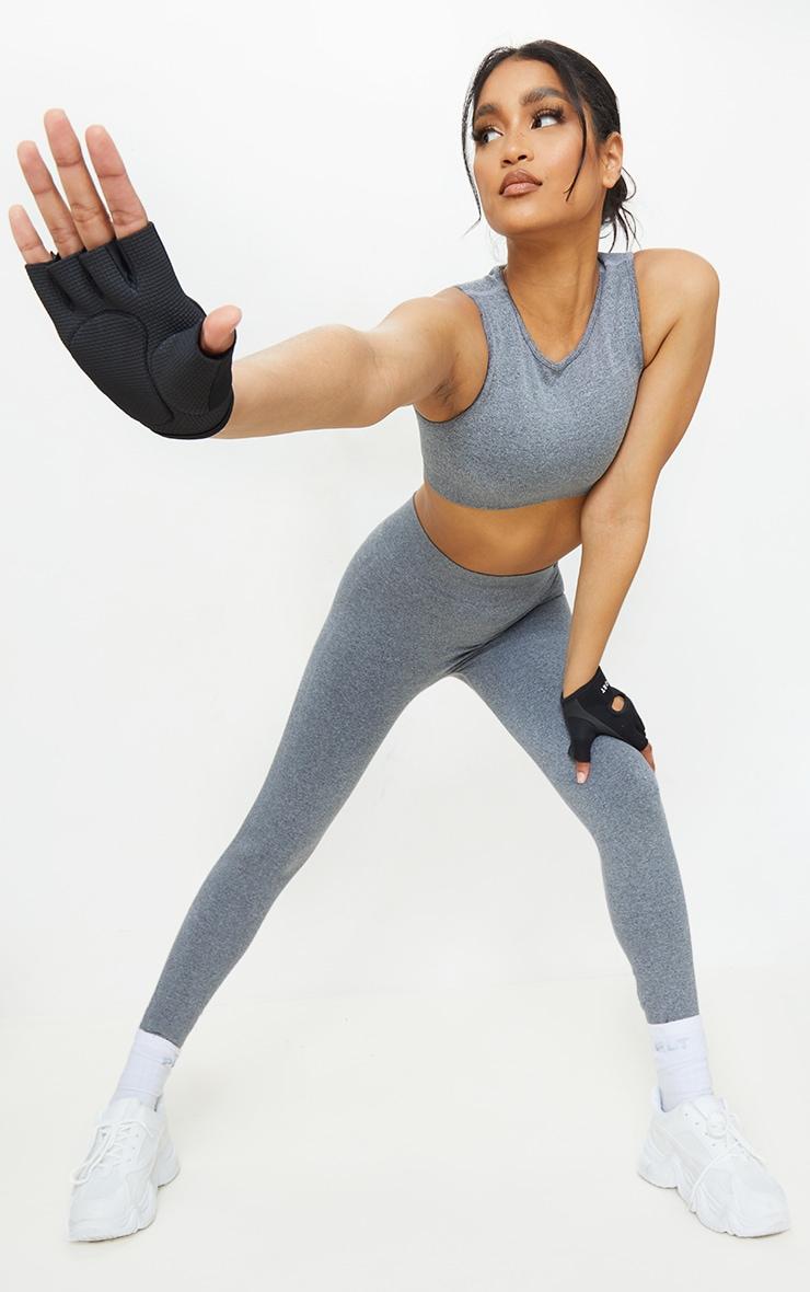 Grey Marl Seamless Rib Waist Gym Leggings 1