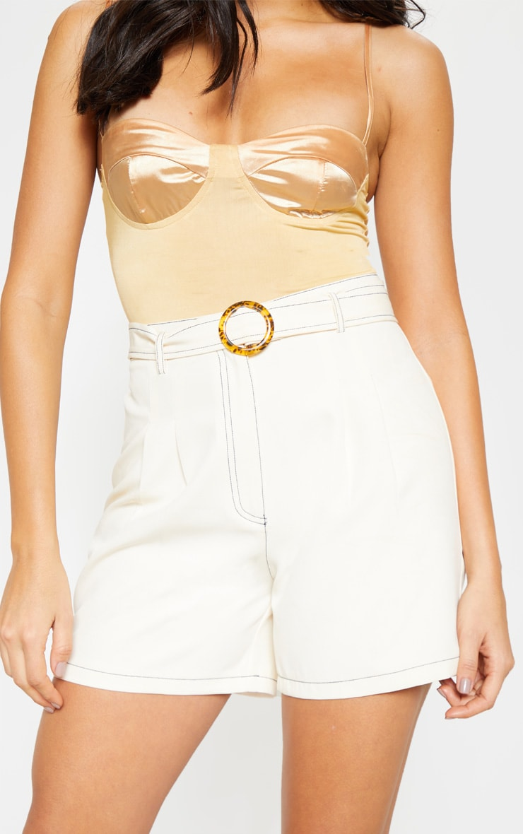 Cream Contrast Stitch Belted Tailored Short 6