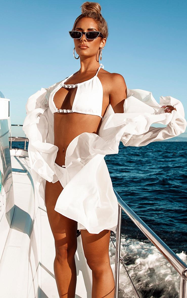 White Extreme Frill Mini Kimono 1