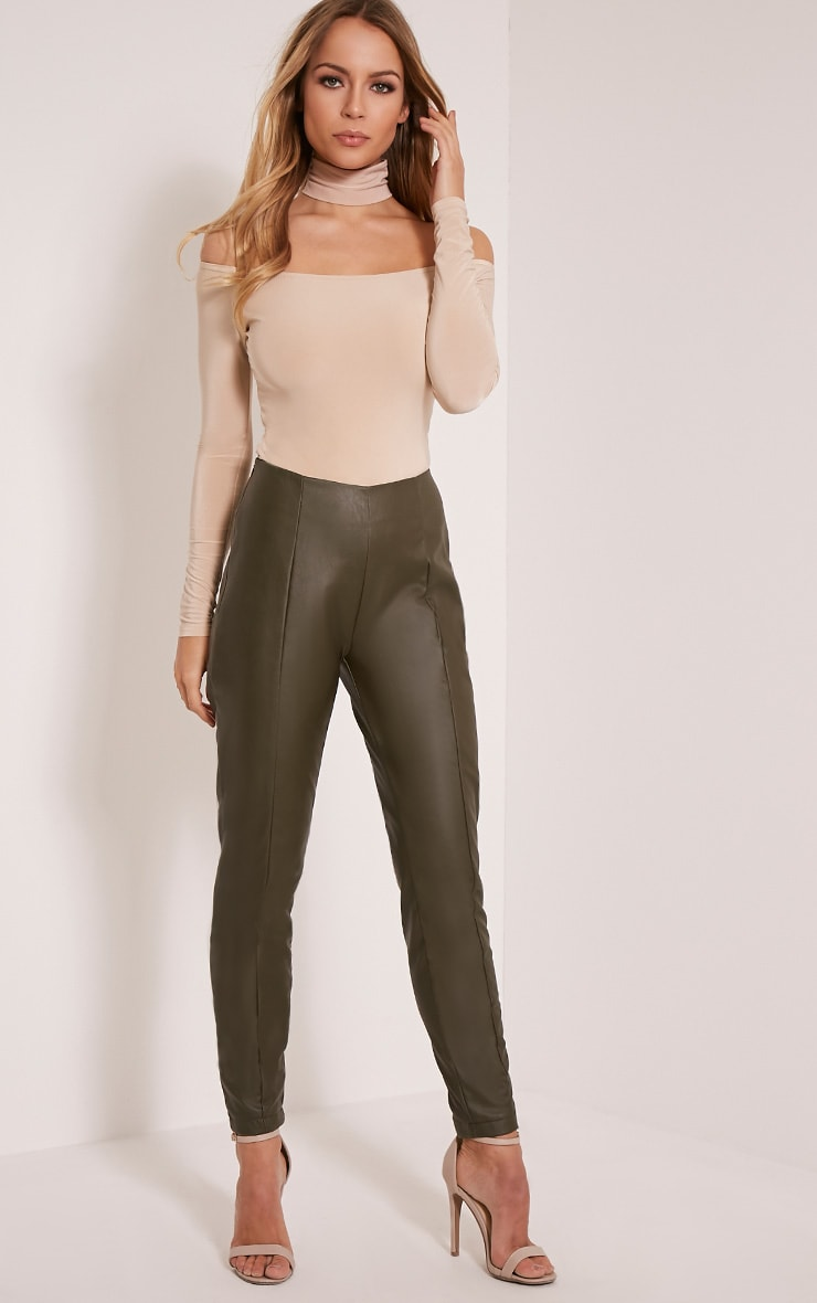 Sania Khaki PU Jeggings 1