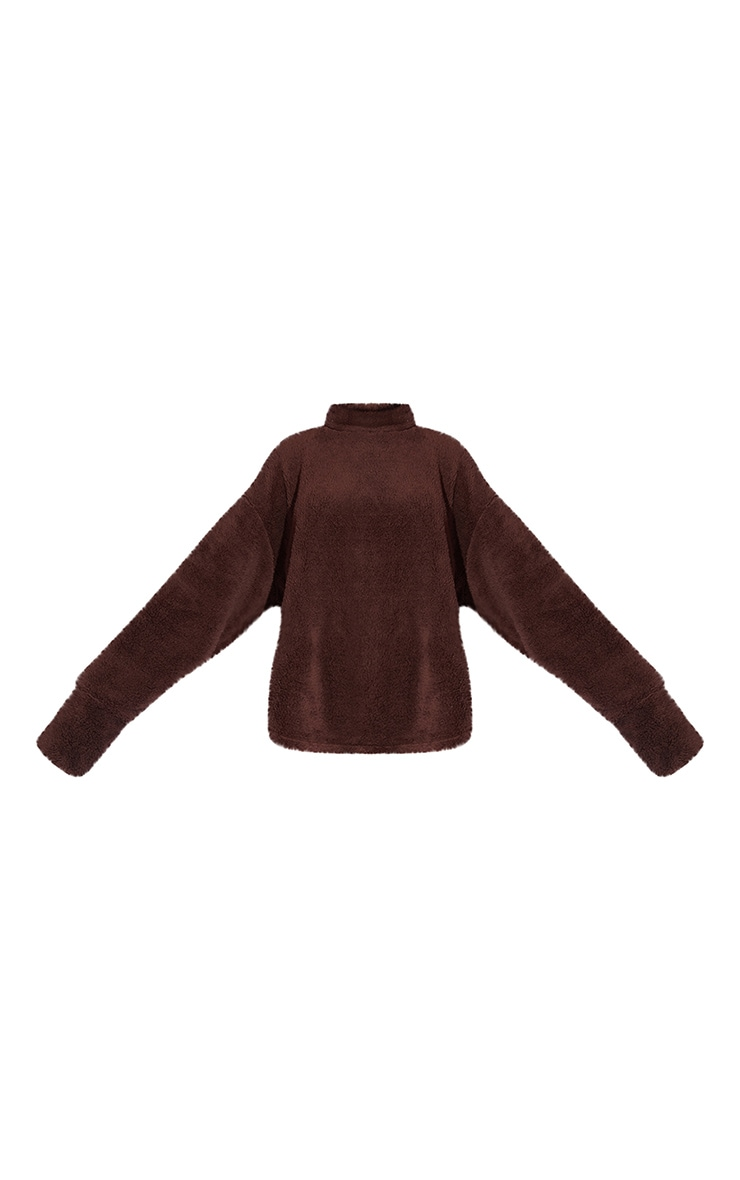 Chocolate High Neck Borg Sweater 5