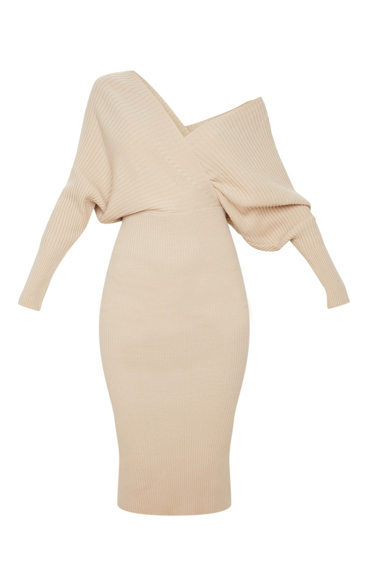Stone Wrap Off The Shoulder Midi Dress 5