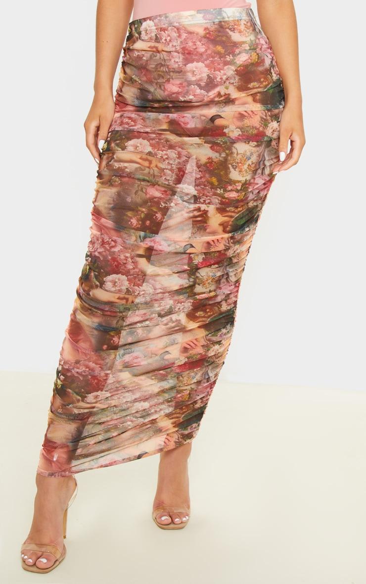 Camel Renaissance Mesh Ruched Midaxi Skirt  2