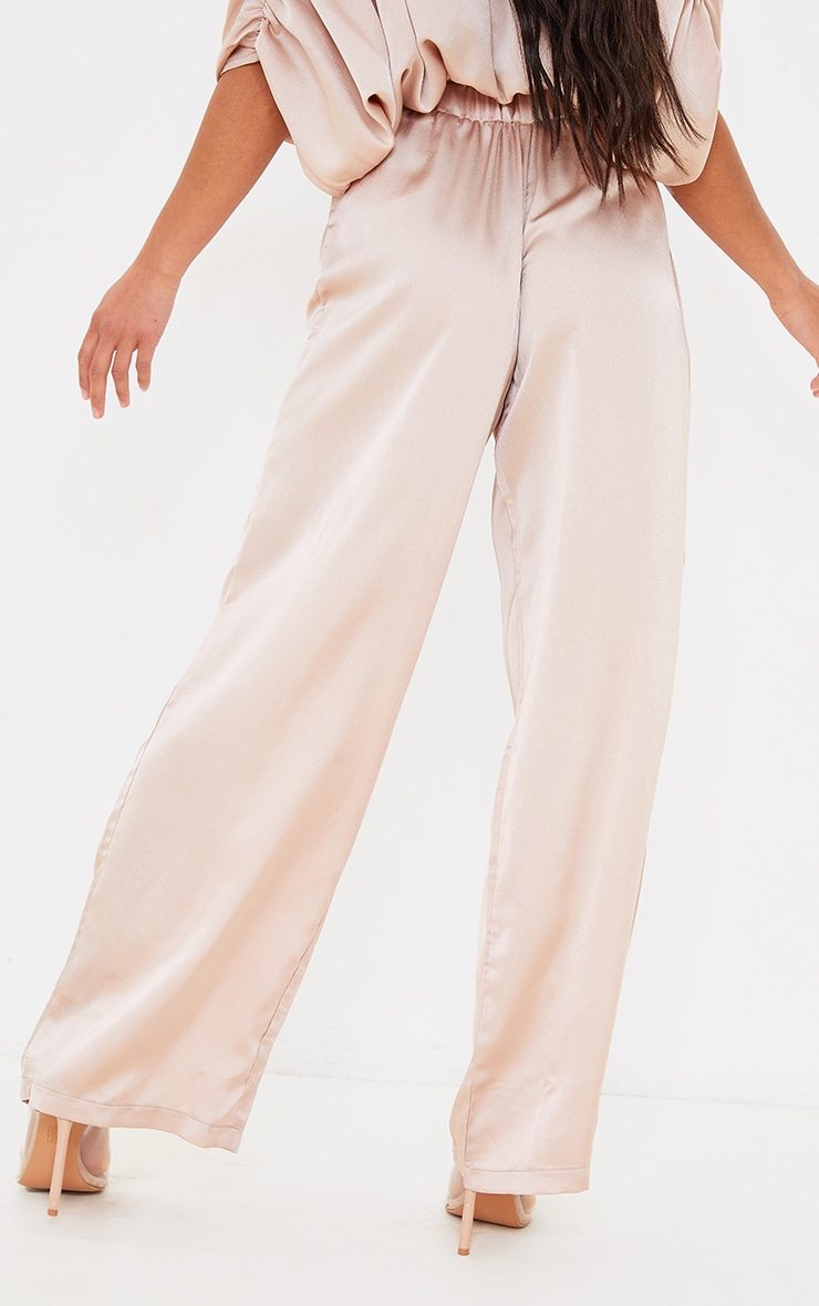 Petite Champagne Satin High Wasited Ruched Wide Leg Pants 3