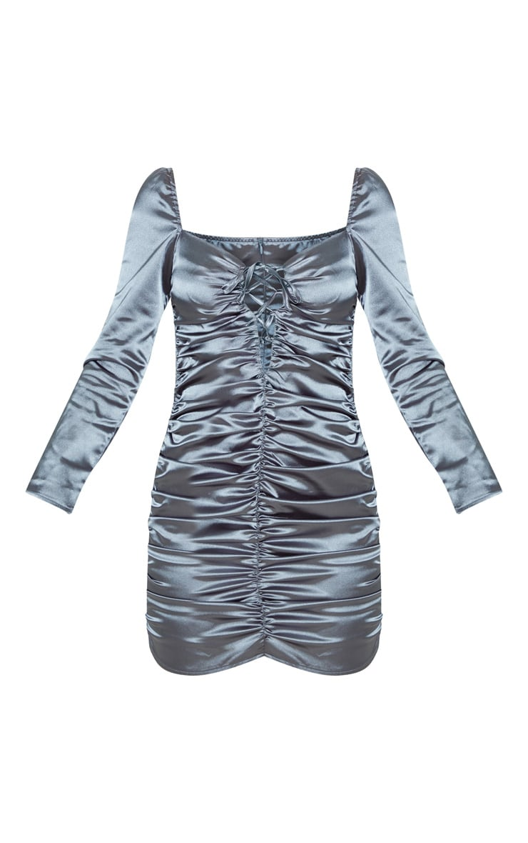 Charcoal Blue Satin Ruched Lace Up Detail Bodycon Dress 3
