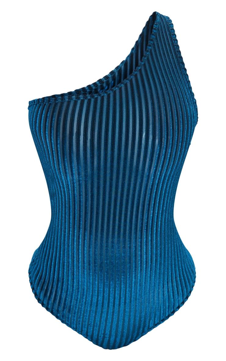 Teal Velvet Stripe One Shoulder Bodysuit 3
