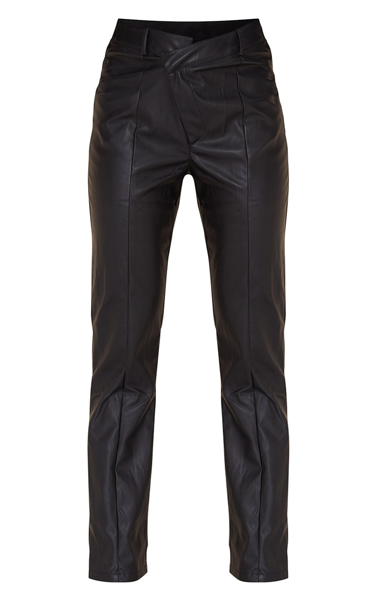 Black Faux Leather V Front Straight Leg Trousers 5
