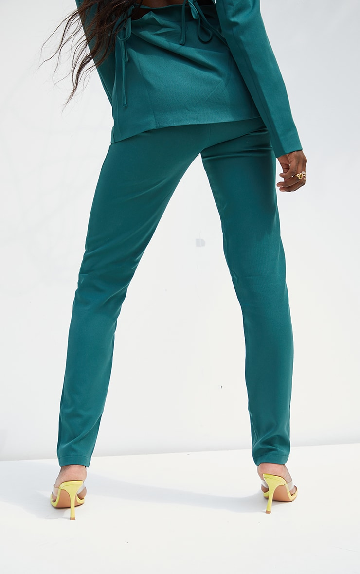 Tall  Green HighWaisted Suit Trousers 3
