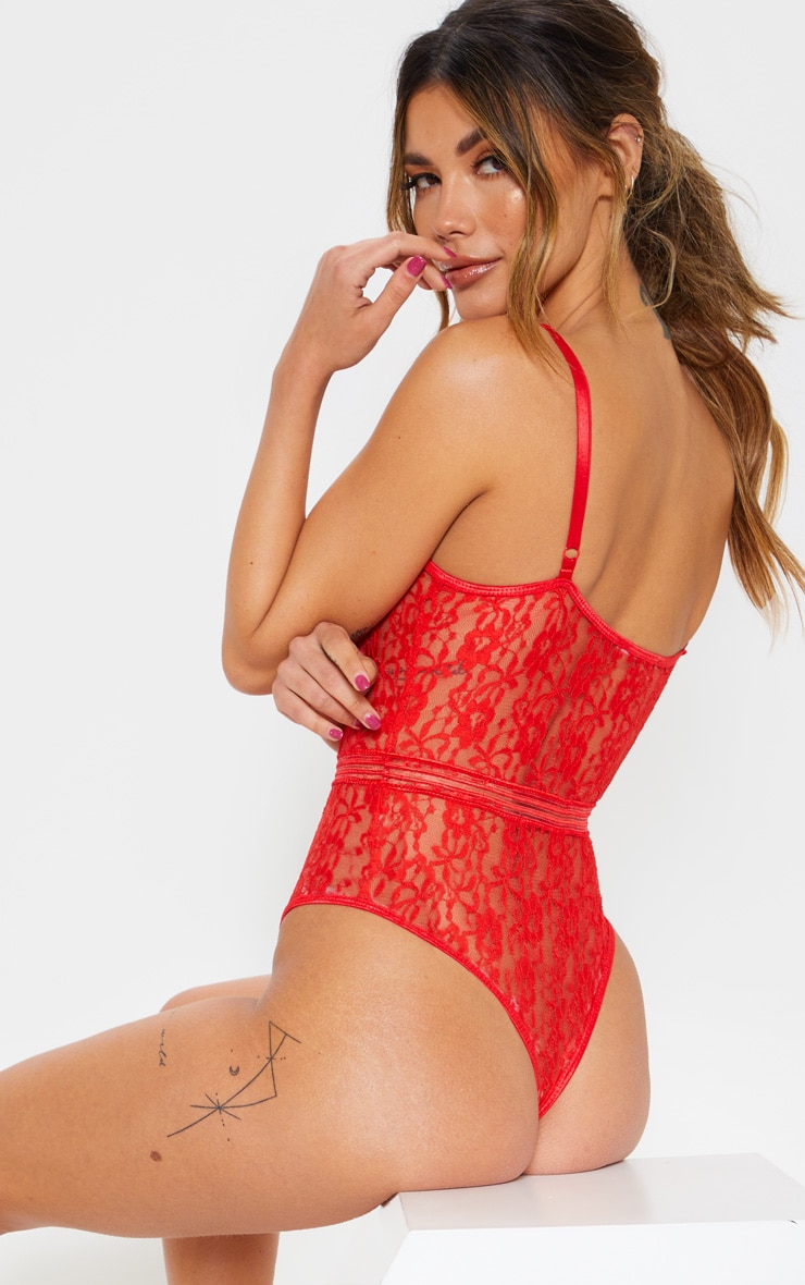 Red Lace Cupped stripe Lace Body 2
