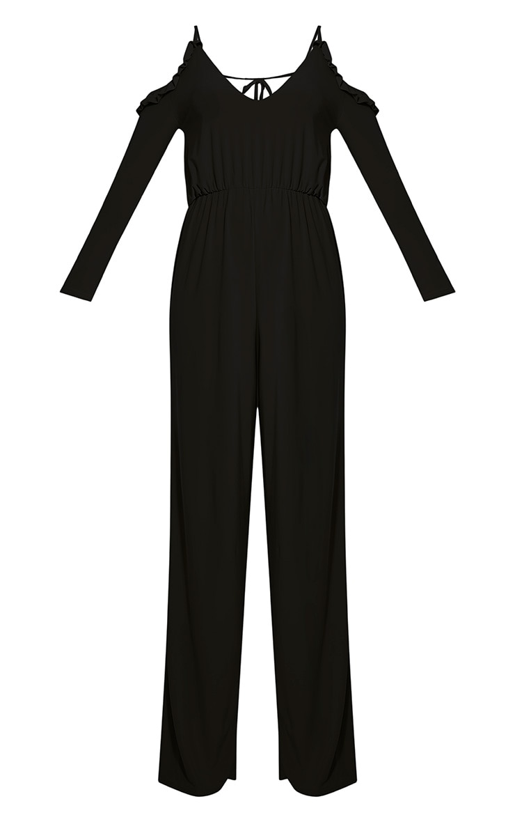 Krisha Black Frill Detail Cold Shoulder Jumpsuit 3