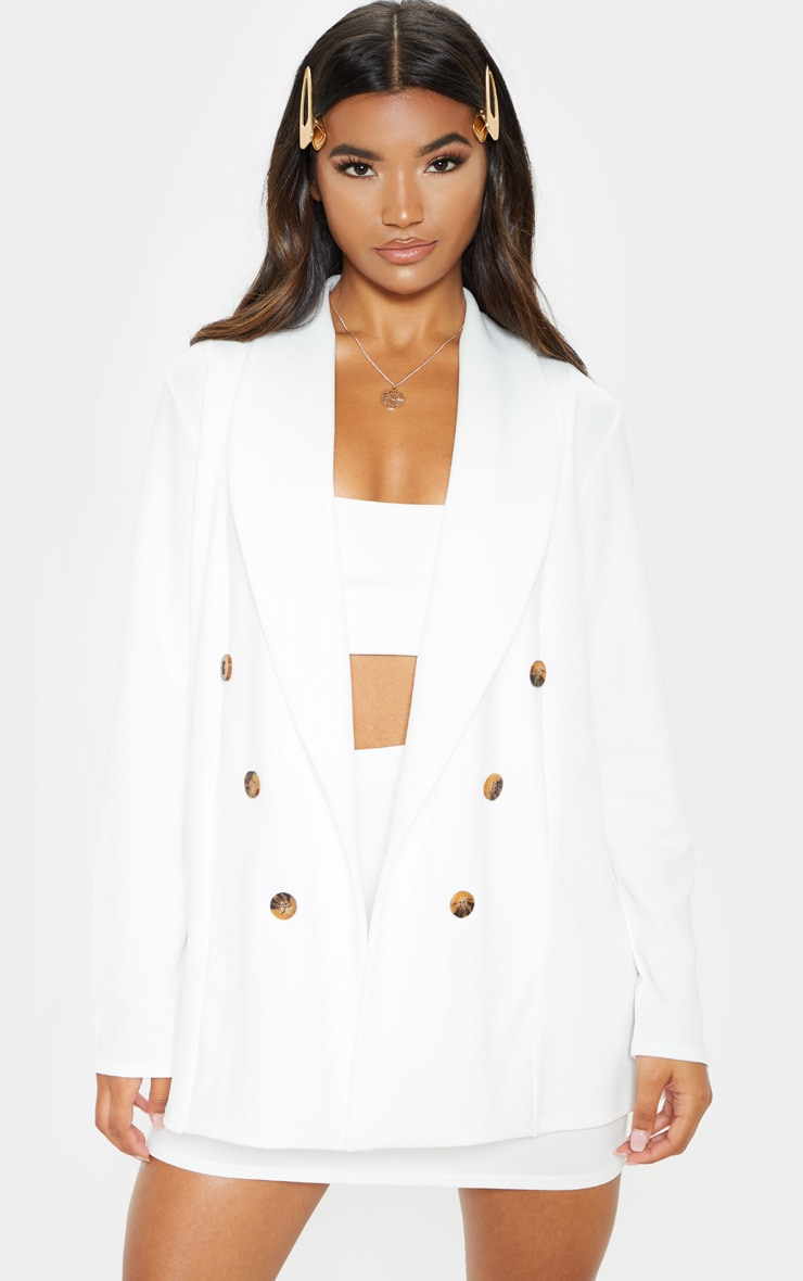 White Oversized Button Detail Blazer 1