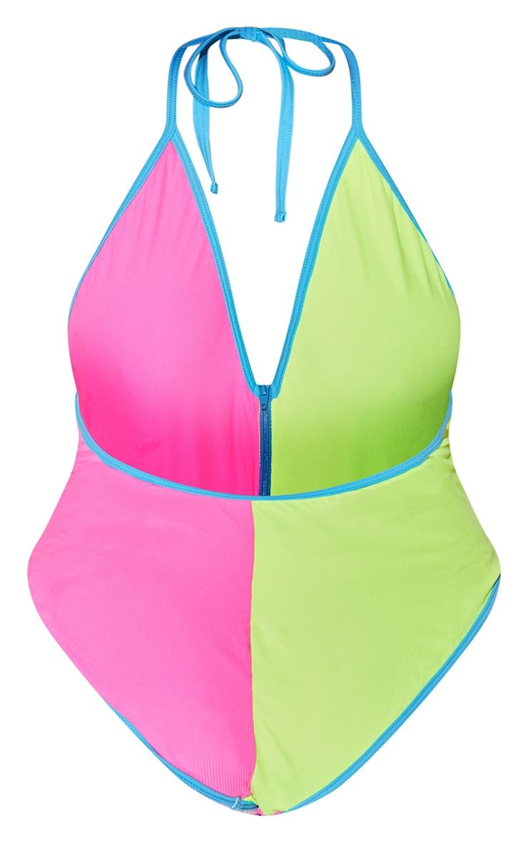 Plus Multi Zip Up High Leg Swimsuit 5
