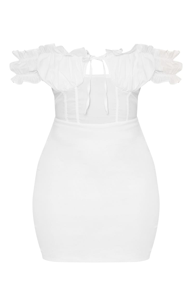 White Bardot Frill Detail Bodycon Dress 3
