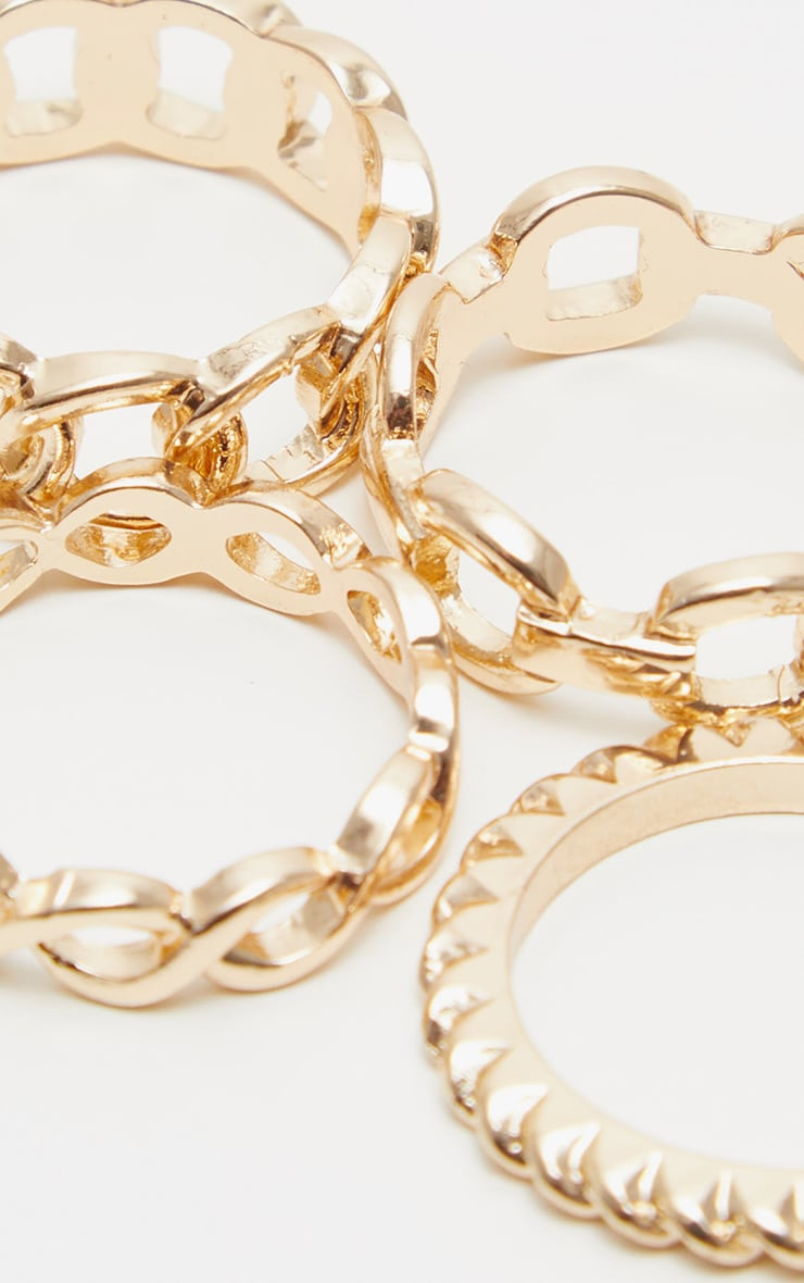 Gold Chain Link Multi Ring Set 3