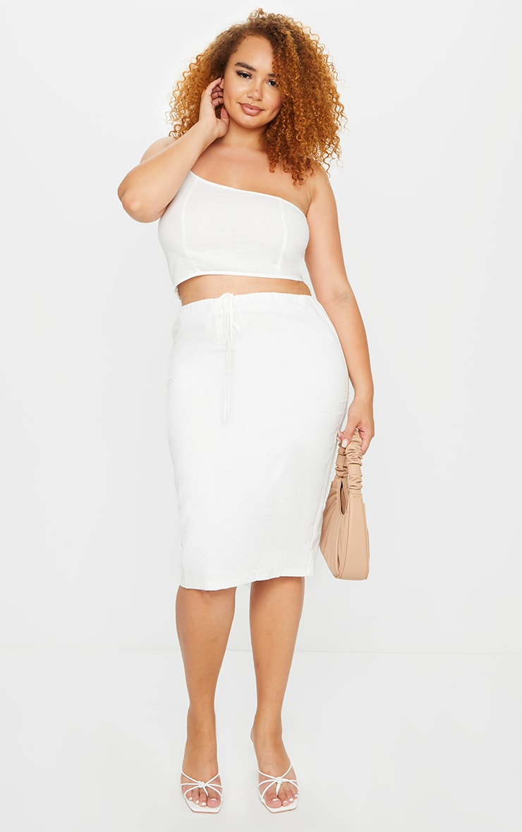Plus White Woven Tie Waist Midi Skirt 1