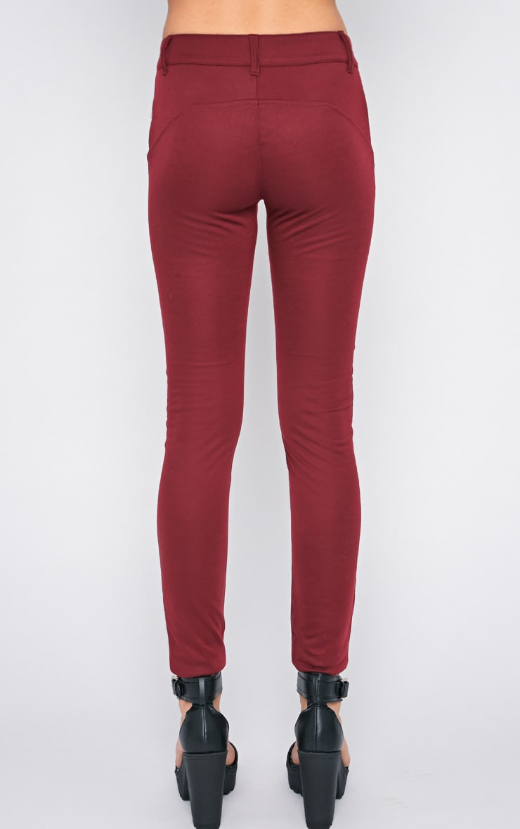 Sheree Burgundy Leather Panel Jeans With PU Floral Detail 2