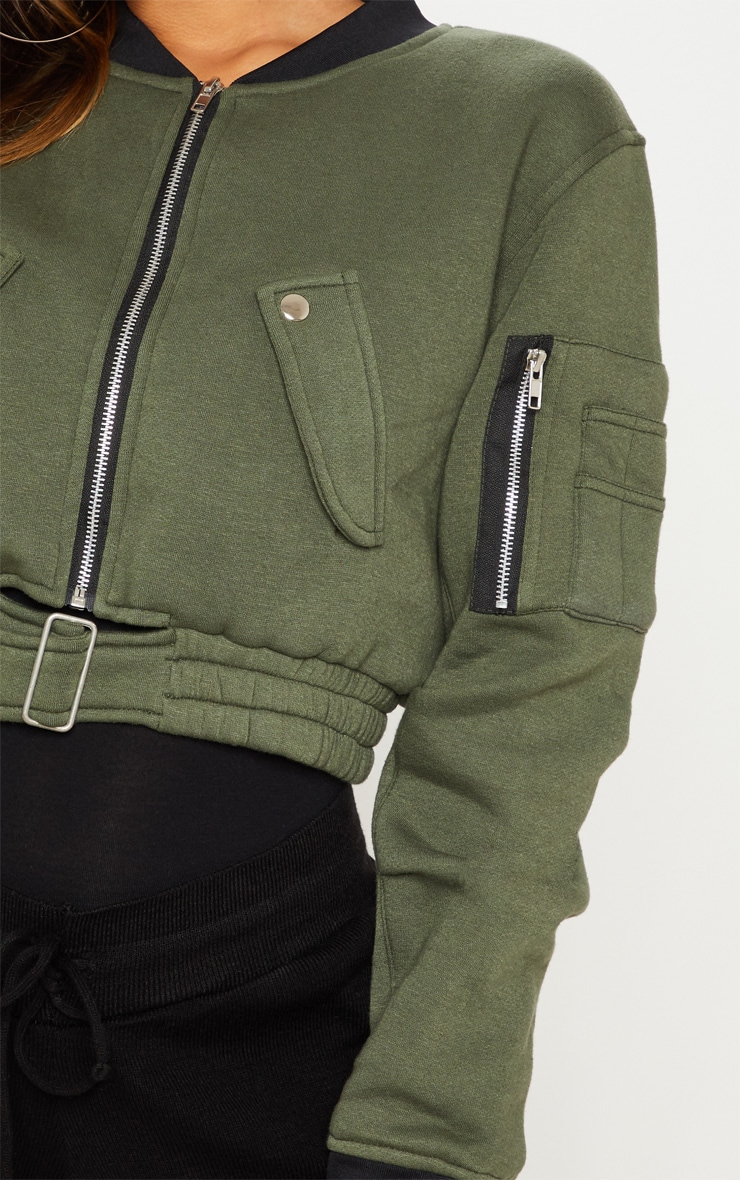 Khaki Cropped Bomber Jacket 5