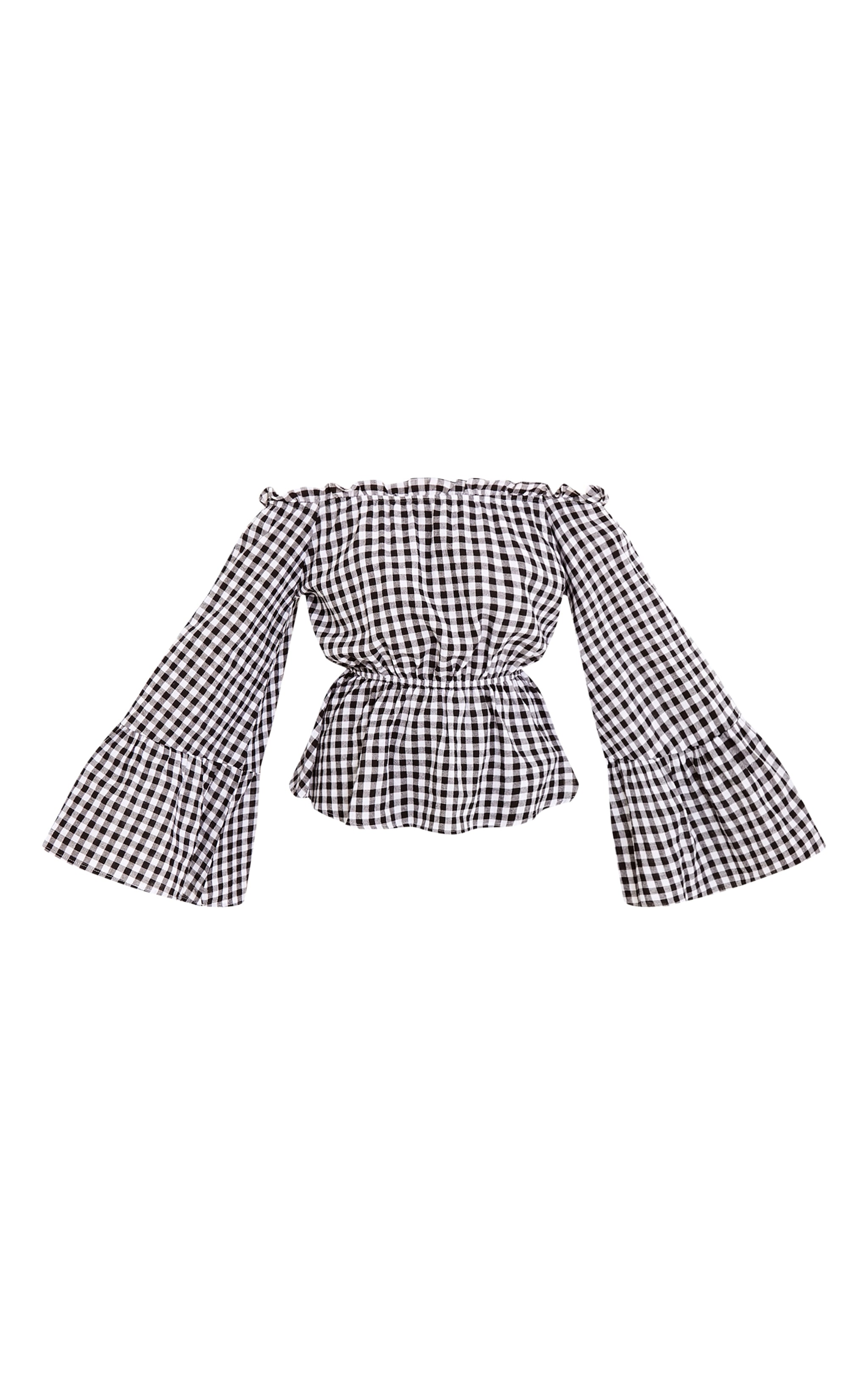 Nellie Black Gingham Check Bardot Top  3