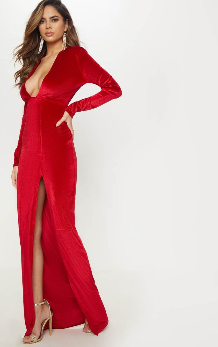 Red Velvet Plunge Split Leg Maxi Dress 3