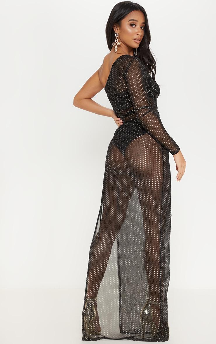Petite Black Mesh Polka Dot Maxi Dress 2