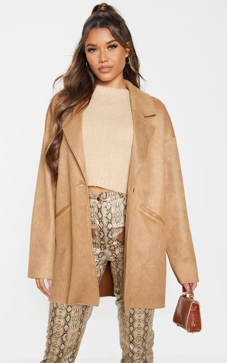 Camel Cocoon Faux Suede Coat 5