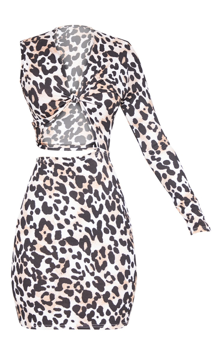 Tan Leopard Print Asymmetric Knot Detail Cut Out Bodycon Dress 3