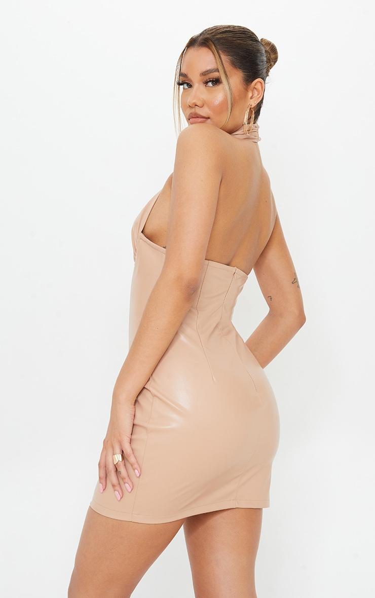 Nude PU Halterneck Underbust Detail Bodycon Dress 2