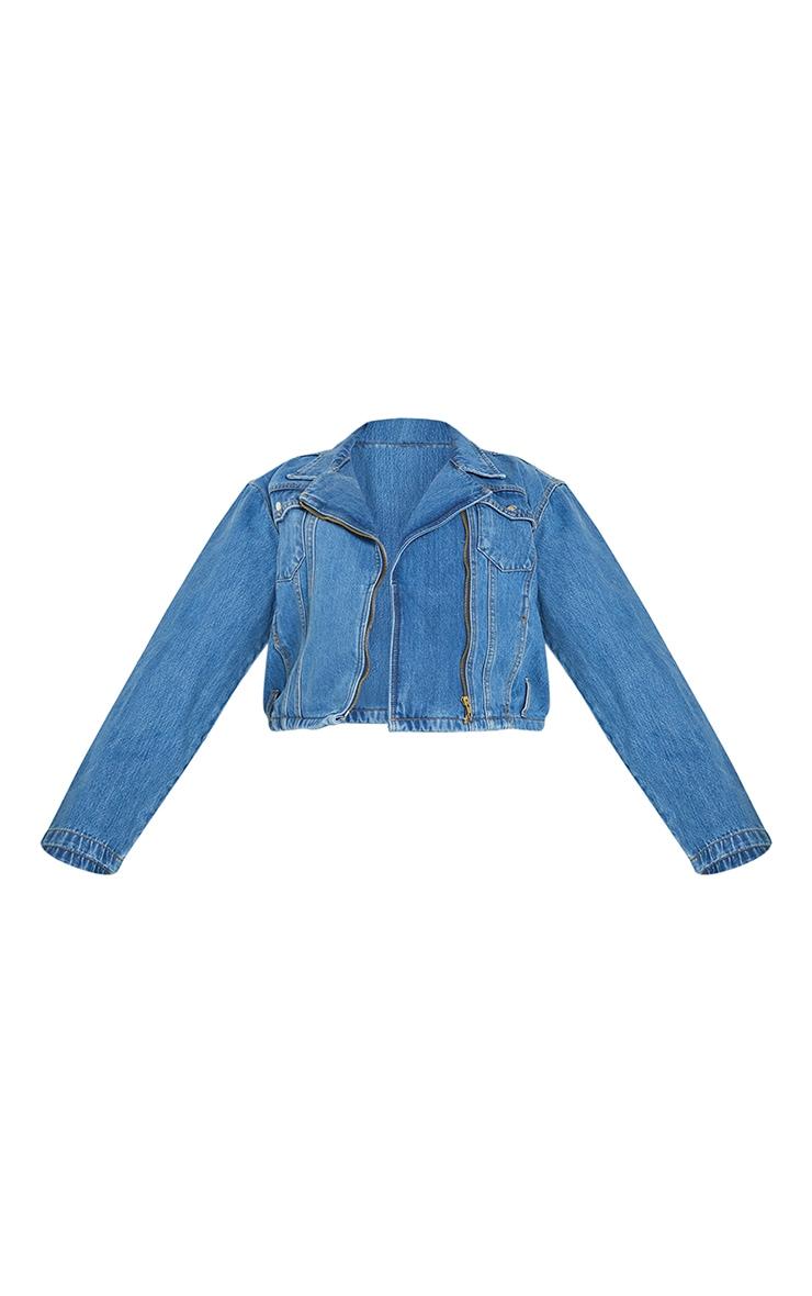 Plus Mid Blue Wash Denim Zip Biker Jacket 5
