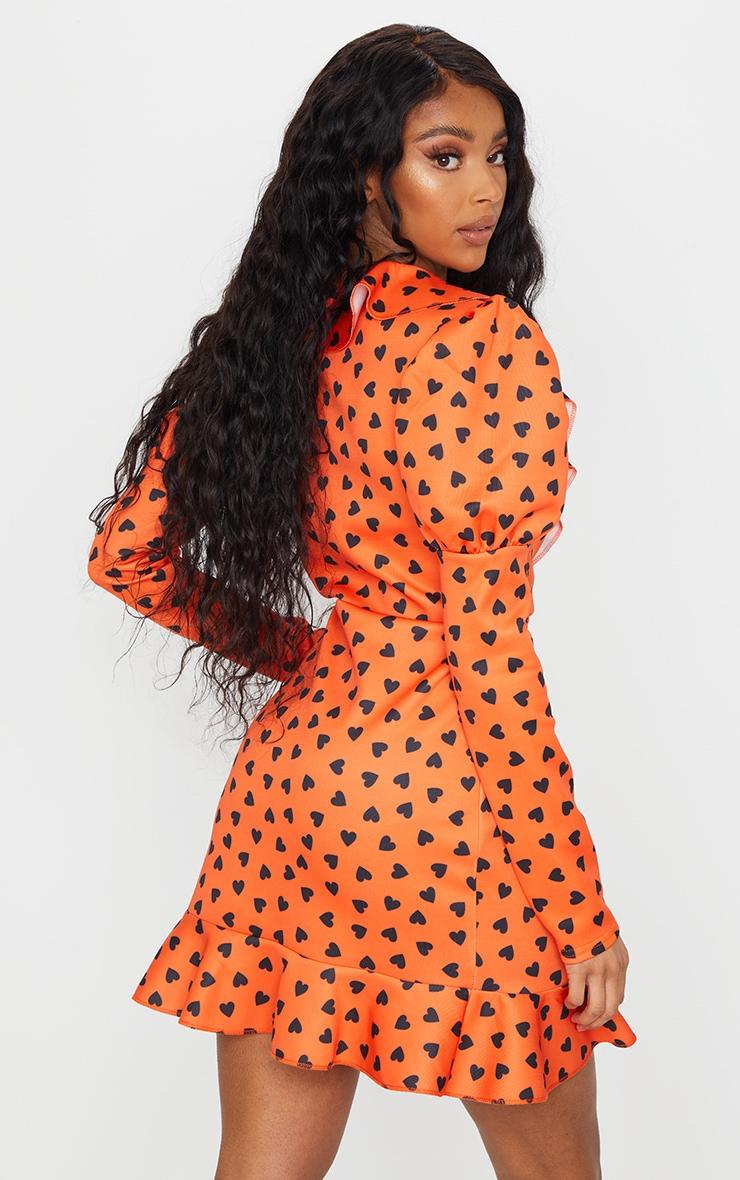 Orange Heart Print Puff Sleeve Long Sleeve Wrap Front Tea Dress 2