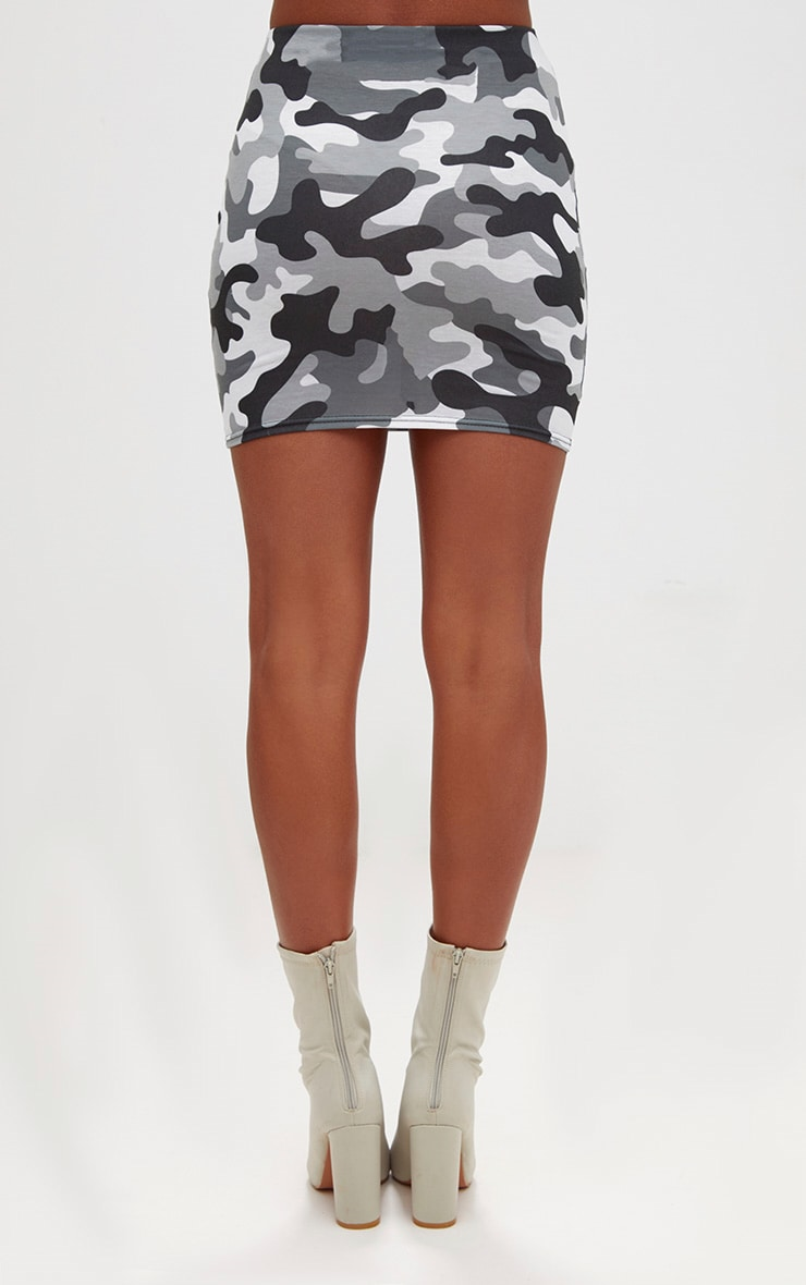 Grey Camo Print Mini Skirt 4